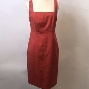 Tahari Womens Sheath Dress Size 8 Red Orange